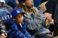 Lil Wayne Takes Adorable Son to Lakers Game